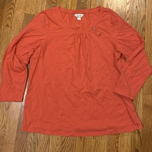 Salmon Long-Sleeve Tee w/ Neck Buttons, Size 2X